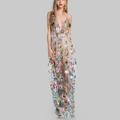 SheIn offers Double Strap Embroidered Mesh Overlay Bodysuit Dress & more to fit your fashionable needs. Maxi Floral, Bodysuit Dress, Maxi Gowns, Sleeveless Dresses, Gown Dress, Maxi Skirts, Mesh Dress, Spring Dresses, Dress Backs