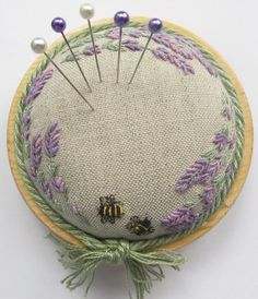Lavender & Bees on Linen Pincushion