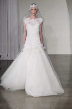 Marchesa Fall 2013 lace neckline Bridal gown