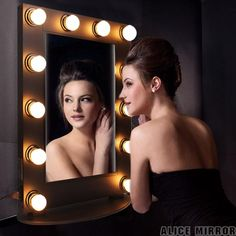 Alice Lighted Tabletop Hollywood Makeup Vanity Mirror with LED Bulb and Dimmer (Gloss Black) ** Check out this great product. (This is an affiliate link and I receive a commission for the sales)
