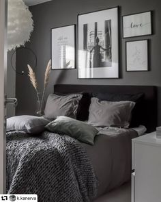 home bedroom Interior / Scandi / home a - Modern Master Bedroom, Gray Bedroom, Grey Bedroom Design, Ikea Bedroom, Room Ideas Bedroom, Home Decor Bedroom, Scandi Home, My New Room, Bedroom Organization