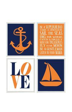 Nautical Nursery Wall Art Baby Boy Anchor Print Sailboat Love Rules Navy Blue Orange Decor