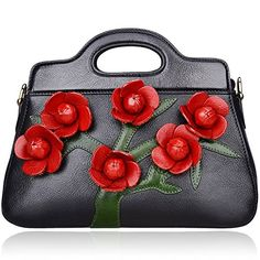 Pijushi Designer Floral Genuine Leather Tote Clutch Cross Body Handbags