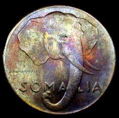 1950 Italian Somalia 5 Centesimi TONED ELEPHANT Coin in Super Great Condition!