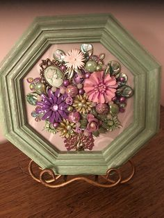 Details about Repurposed Vintage jewelry art Floral Collage framed. Farmhouse Look Repurposed Vintage jewelry art Floral Collage framed. Farmhouse Look. Jewelry Frames, Jewelry Tree, Jewelry Shop, Jewelry Rings, Jewlery, Fashion Jewelry, Gold Jewellery, Boho Jewelry, Costume Jewelry Crafts