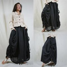 Love Me..Love Me Not (Series III)...Steampunk Black Cotton Skirt With Side Adjustable String And 2 Roomy Pockets https://www.pinterest.com/tatiana_packer/