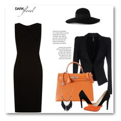 """""""Orange-Black ♥"""" by abecic ❤ liked on Polyvore featuring BOSS Hugo Boss, Liviana Conti, Eugenia Kim and Hermès"""