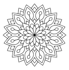 Mandala Des Flower kostenlose Vector - Amee House - Coloring pages - Mandalas Drawing, Mandala Coloring Pages, Coloring Book Pages, Dot Painting, Coloring Sheets, Silk Painting, Mandala Design, Mandala Floral