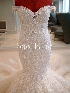 New Pearl Embellish applique lace Mermaid Bridal Wedding Dress Gown Custom SH117