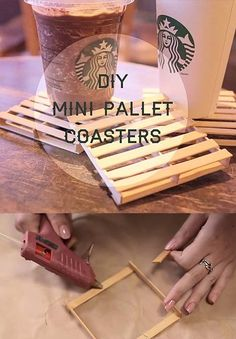 38 DIY Glue Gun Crafts 38 DIY Glue Gun Crafts,DIY mini palette coasters, easy DIY and perfect for a beach cozy home, check out this fantastic tutorial DIY Cute Crafts, Craft Stick Crafts, Crafts To Make, Craft Sticks, Diy With Popsicle Sticks, Popsicle Stick Coasters, Easy Crafts, Lolly Stick Craft, Diy Projects To Sell