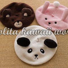 3 Colors Lolita Kawaii Bear Bunny Panda Beret from lolita store Pink Outfits, Cute Casual Outfits, Kid Favorite Recipe, Mode Lolita, Girls Jewelry Box, Kawaii Room, Cute Panda, Hat Hairstyles, Cute Hats