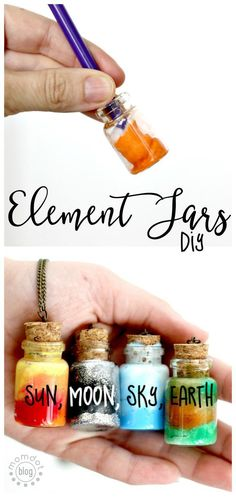 Element Jars: Create Sun, Moon, Earth, and Sky in these fun DIY Element Jar Neckla