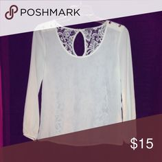 Sheer blouse with lace back Off white sheer blouse with lace back Charlotte Russe Tops Blouses