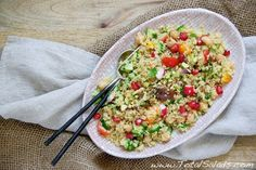 Recipe: Saffron Couscous and Chickpea Salad - this great make-ahead salad stays fresh in the refrigerator for days!
