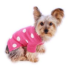 French Pink Polkadot Dog Pet Sweater, Rolled Neckline, Soft Knit