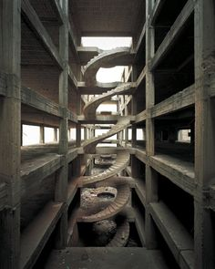 """brutgroup: """"Beirut Spiral - Solitary Structures, Beirut, Lebanon, circa 2007 photo by Sean Hemmerle """" Modernisme, Brutalist, Abandoned Places, Stairways, Architecture Design, Concrete Architecture, Concrete Building, Instagram, Beirut Lebanon"""