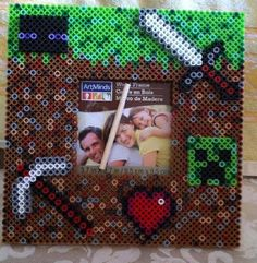 Mine Craft Picture Frames Holds 3.5 x 3.5 picture Can be customized with name. NO charge  Made with: perler beads wood