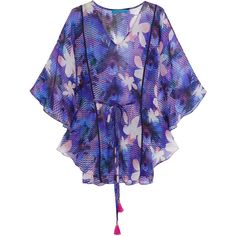 Matthew Williamson Waterfall printed silk-chiffon kaftan (16,480 INR) ❤ liked on Polyvore featuring tops, tunics, multi, loose fit tops, multi color tops, colorful tunics, cut loose tops and caftan tops