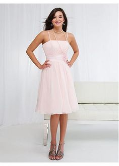 Stunning Chiffon A-line Spaghetti Straps Bridesmaid Dress