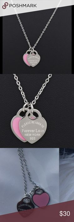 ➖Tiffany Style Silver Necklace with Pink Pendant 18k White Gold Plated Love 925 Necklace with pink Pendant. kate spade Jewelry Necklaces