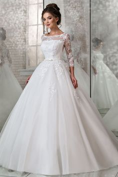 Modest Lace & Tulle Scoop Neckline Natural Waistline Ball Gown Wedding Dress With Lace Appliques & 3D Flowers & Beadings