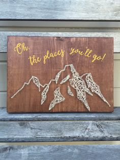 Wood wall sign mountains string art by FindingOurLittleWans