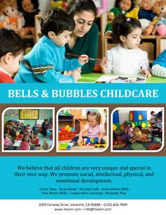 Bells and Bubbles Childcare Flyer Template Flyer Free, Free Flyer Templates, Daycare Business Plan, Starting A Daycare, Pamphlet Design, Marketing Flyers, Marketing Ideas, Home Daycare, Emotional Development