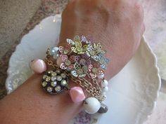 April Flowersvintage assemblage bracelet