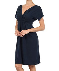 Another great find on #zulily! Navy Ruched Surplice Dress by Pretty Young Thing #zulilyfinds