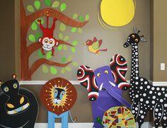African Tinga Tales characters, Hippo, Monkey, Lion, Elephant, Tortoise, Giraffe