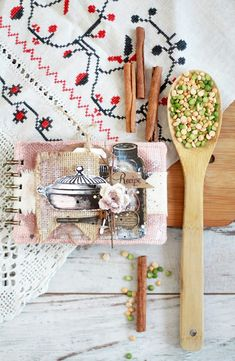 Vintage Recipe Book - mini cutlery charms from 7gypsies #savearecipe