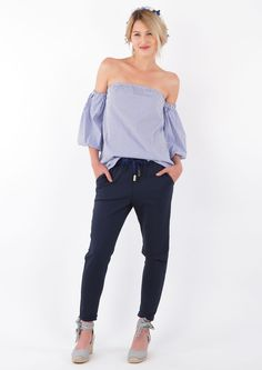 Dark Blue Tie Waist Trousers loubientot.com Dark Blue Tie, Tie Waist Trousers, Smart Styles, Size Model, Casual Looks, Off Shoulder Blouse, Work Wear, How To Wear, Shirts