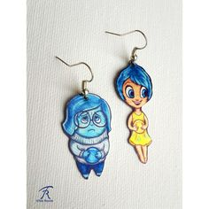 Inside Out Sadness Joy Emotions Disney Pixar Cartoon Blue Yellow Cute... (€16) ❤ liked on Polyvore featuring jewelry, earrings, metal jewelry, disney jewellery, blue earrings, yellow jewelry and comic book