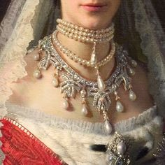 "Close-up of that amazing Cartier necklace. #Detail, ""Grand Duchess (later Empress) Maria Feodorovna"" by Ivan Nikolaevich Kramskoi, c1881."