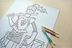 Coloring poster - Knight by PancakesCamembert on Etsy, Poster Colour, All Poster, Paper Goods, Knights, Little Boys, Pancakes, Coloring, Greeting Cards, Etsy