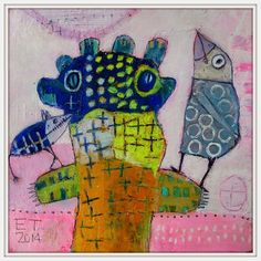 Elke Trittel layered, scratched through acrylic with markers, pencils, pens, pastels on paper