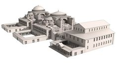 Front to back: Theodosian Basilica, Hagia Sophia as it was in 537 and after the dome collapse in 557