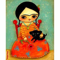 Frida Kalo with black pug dog by Kascha  Parkinson