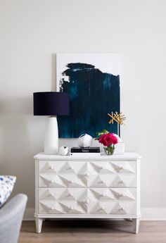Blue Abstract Art Canvas Above White Dresser in Foyer | Heather Scott Home & Design