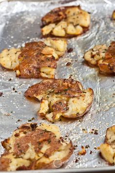 Smashed Red Potatoes- delicious and easy! Made some with Parmesan cheese and some with rosemary. Both were good.