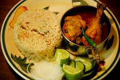 Bengali chicken curry and flavoured rice - comfort food - from #http://eatfoodlovelive.wordpress.com/
