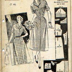 """Patron vintage 50's, robe chemisier, supplément à la revue """"femmes d'aujourd'hui"""" 13 juin 1957."""