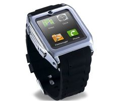 new touch Screen Smartwatch Bluetooth Watch Mobile Phone MP3 Video Camera GSM FM bluetooth connect Android phones smart watch. (Black). Parameters The world's thinnest watch phone stainless steel housing , more refined and more stylish. Ultra- high-definition screen, ultra-sensitive touch screen flat , perfect sound , one-touch recording function secretive , e-books , high-quality polymer battery , excellent man-machine interface designed to support up to 32GB TF card ; MSN, QQ, Facebook...