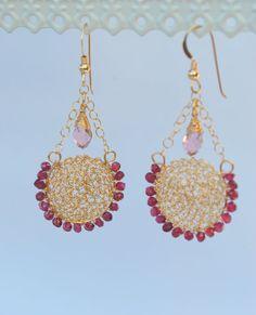 Elegant Dangle Gold Swing Earrings with Garnet And Swarovski