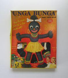 UNGA BUNGA. Vintage racist craft kit. 1961 yarn doll kit by Lisbeth Whiting. Complete kit in original box. by PickleladyVintage on Etsy