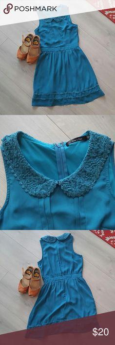 Darling collared dress Dark turquoise blue collared dress. Collar has pretty lace detail. Zipper back. Doe & Rae Dresses Midi