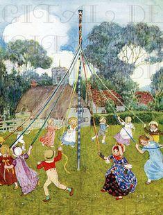 Wonderful Maypole, Jessie Wilcox Smith via Etsy.