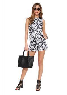 Love Sadie Floral Romper in Black/white | Necessary Clothing