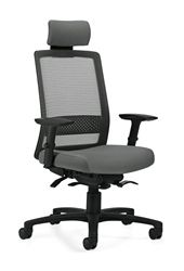 Auto responding office chairs are the way of the future! This 6760-8 model Spritz series synchro tilter mesh back office chair with weight sensing mechanism and an adjustable headrest packs a major ergonomic punch. When paired with a set of height adjustable arms, this next level mesh chair is the total package. Choose from a variety of mesh back and upholstery options to compliment your decor. Matching guest, conference, and training models are also available.