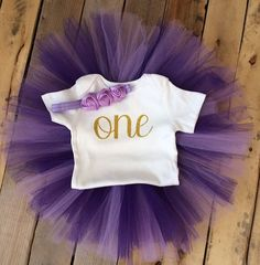 First Birthday Outfit Girl Purple and Gold Girl Purple